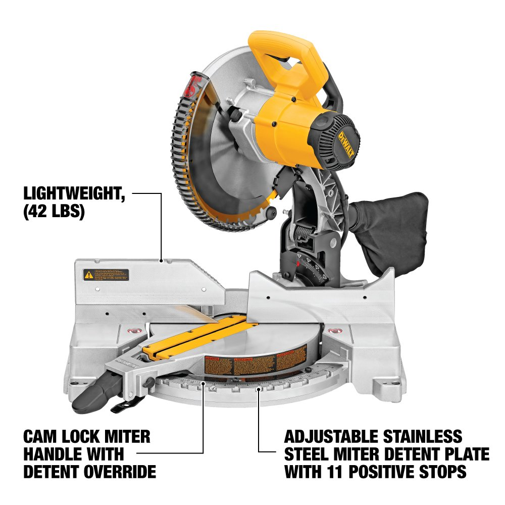dewalt dw715 15 amp 12 inch single bevel compound miter saw power