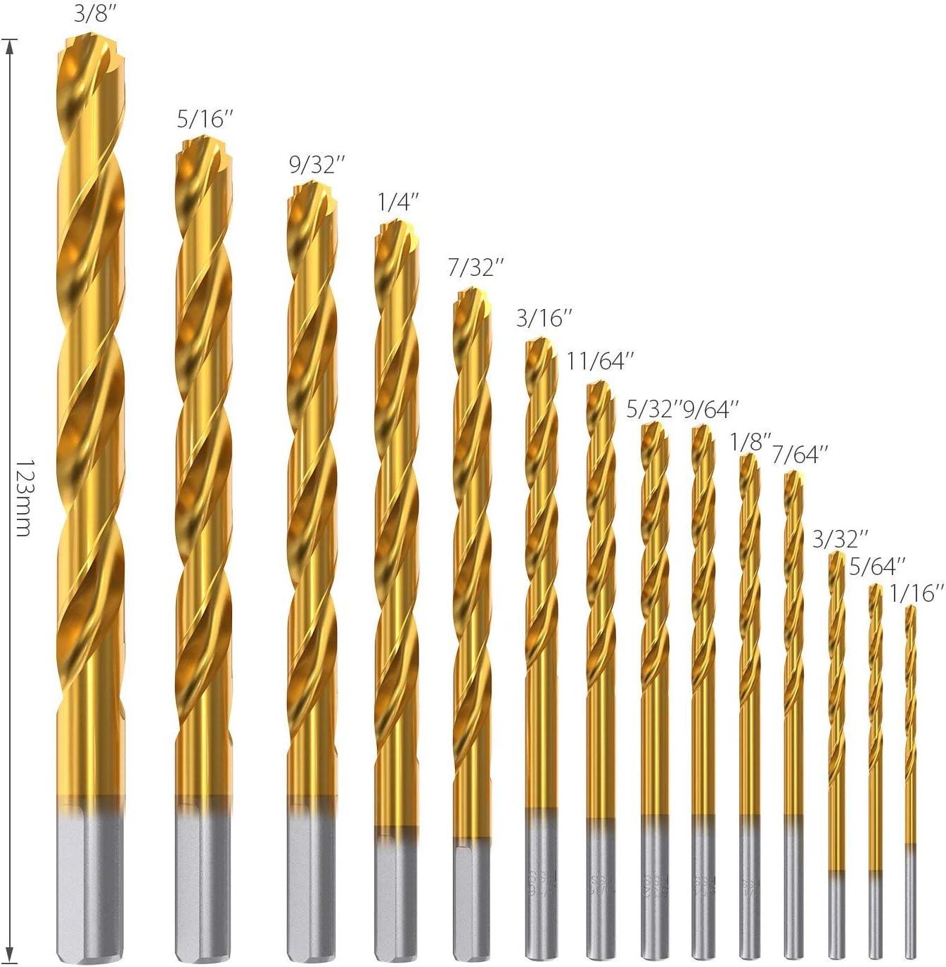 """50 DEWALT TITANIUM 7//64/"""" HIGH SPEED STEEL DRILL BITS METAL GOLD HSS"""