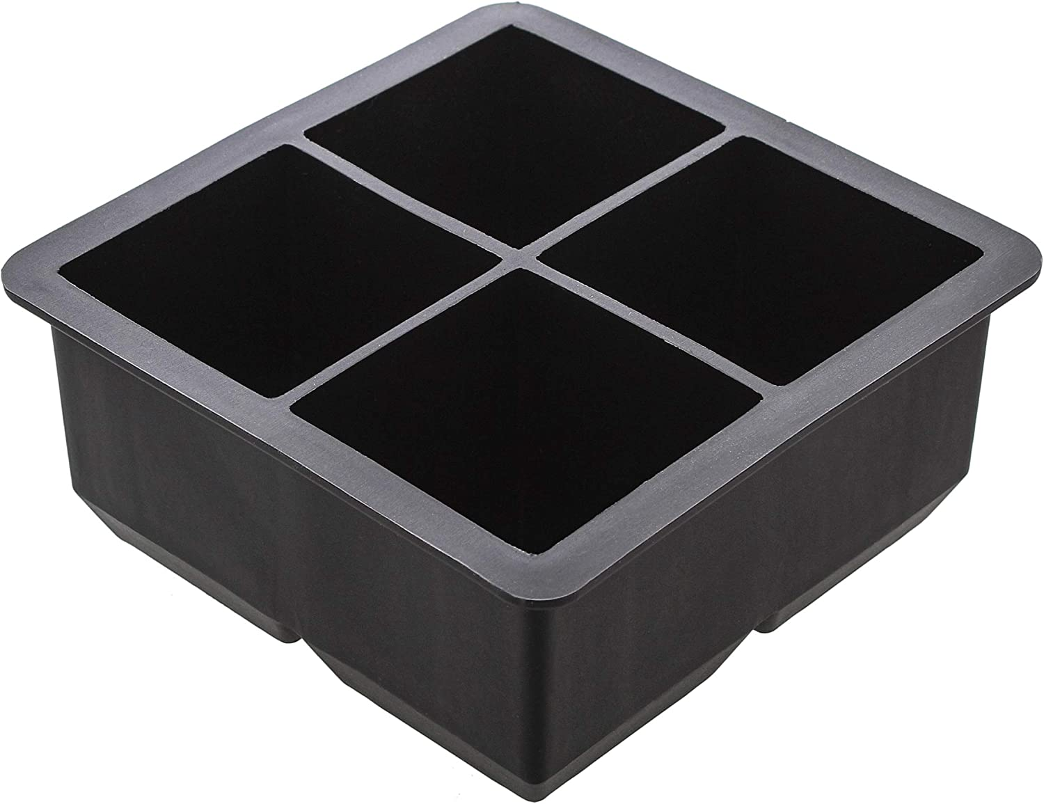7Penn Silicone Ice Cube Mold 4 Cubes Black - Giant Rubber Ice Cube Trays Flexible Ice Mold for Food, Drink 1pc