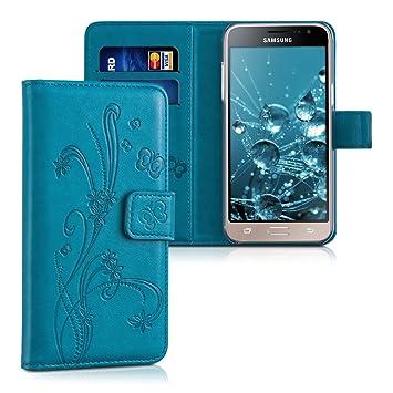kwmobile Funda para Samsung Galaxy J3 (2016) DUOS - Carcasa de {cuero sintético} con diseño de flores y mariposas - Case con {tarjetero}