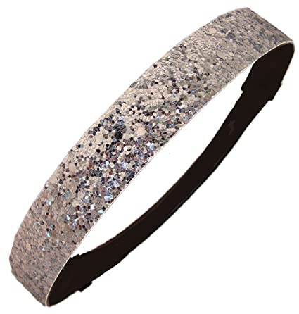 Amazon.com   Silver Glitter Sparkly Sports Headbands - Glitter ... 27b7071404e