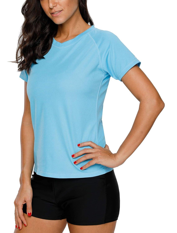 bdcd663702e33 Vegatos Women UV Rash Guard Short Sleeve Swim Shirt Athletic Rashguard  Swimwear Top at Amazon Women's Clothing store: