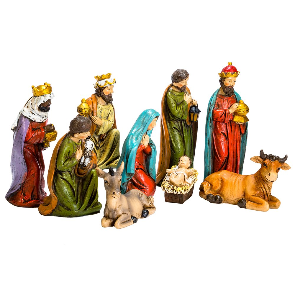 "Kurt S. Adler 8"" Resin Table Piece Nativity Set (Set of 9), 9"
