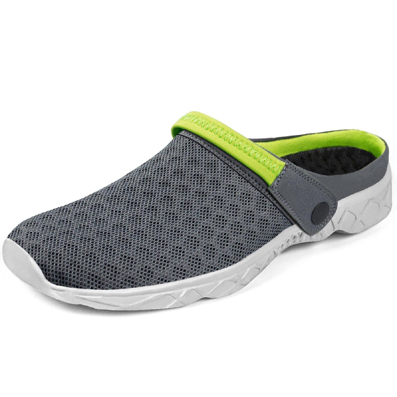 Feetmat Men's Garden Clogs Mesh Lightweight Water Shoes Slip On Sandals Summer Aqua Slippers Grey/Green Size 13