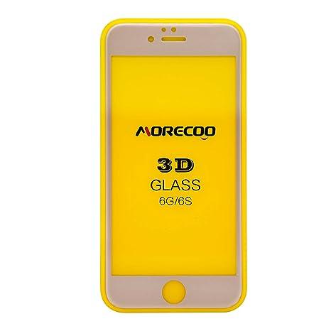69d7b281478 cristal templado iphone 6/6s,MORECOO 3D Protector de pantalla de cristal  para iPhone6