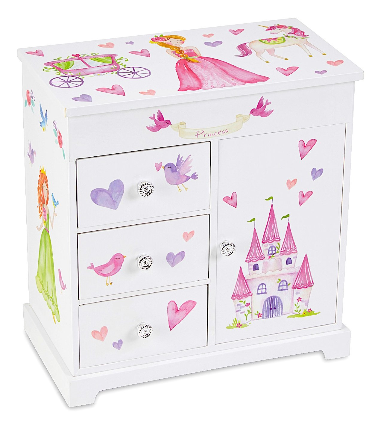 JewelKeeper Unicorn Musical Jewelry Box with 3 Pullout Drawers, Fairy Princess and Castle Design, Dance of the Sugar Plum Fairy Tune by JewelKeeper