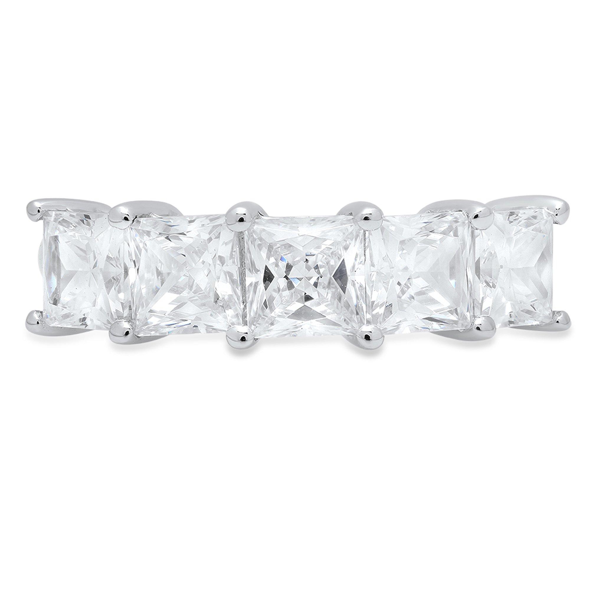 Clara Pucci 3.75 ct Brilliant Princess Cut Simulated Diamond CZ Designer Brial Promise Bridal Wedding Band in 14K Solid White Gold