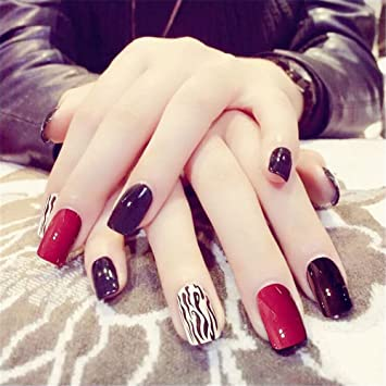 COCOPOP - 24 uñas postizas con diseños de uñas negras y rojas, para mujeres y niñas: Amazon.es: Hogar