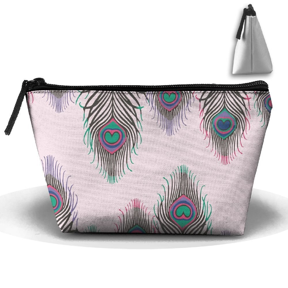 sd4r5y3hg Trapezoidal Cosmetic Bags Makeup Toiletry Pouch Feather Travel Storage Bag Phone Purse