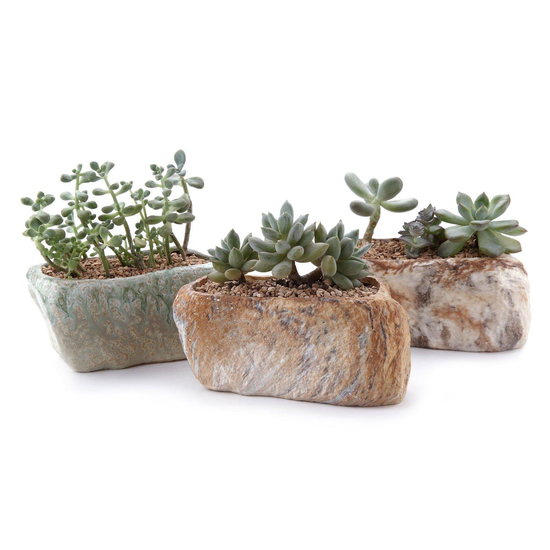 "T4U 5.25"" Distinctive Stone Shape Sucuulent Cactus Plant Pots Flower Pots Planters Containers Window Boxes with Small Hole Set of 3"