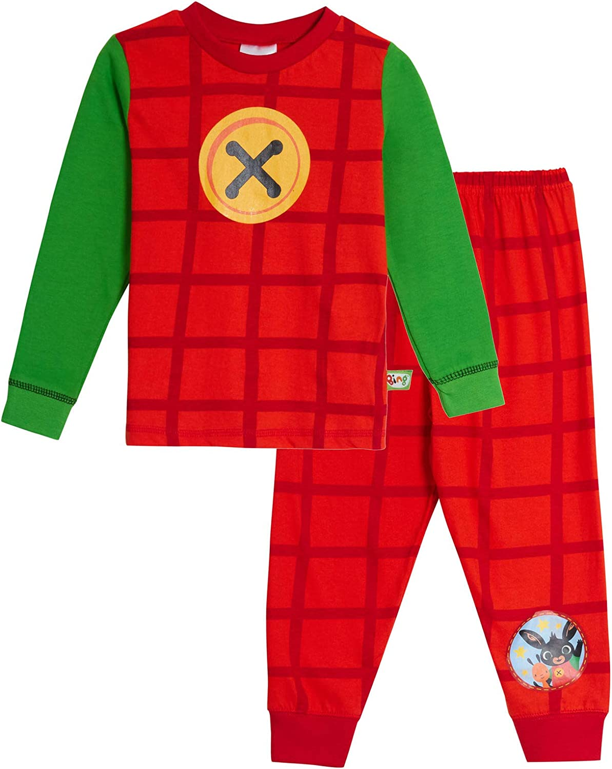 Kids Bing Bunny Fleece All In One Pjs Pyjama Sleepsuit Boys Girls 2-6 Years