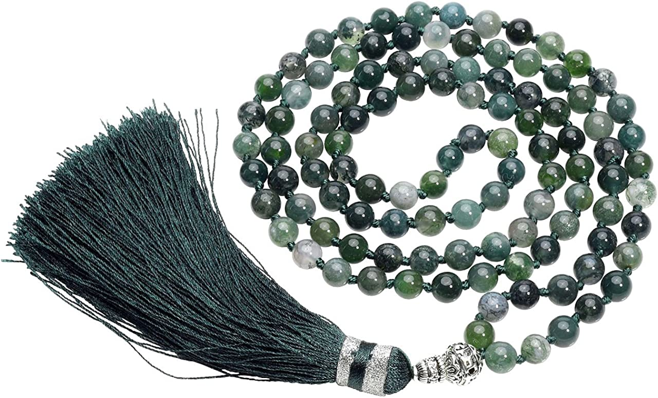 CrystalTears 108 perlas piedras preciosas Yoga pulsera Wickelarmband Om mani Padme hum Buddha Gebetskette Healing Reiki piedra Mala cadena Halskette con borla (Moss Achat)