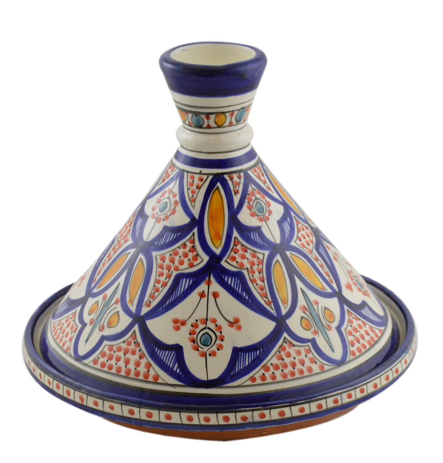 Moroccan Handmade Serving Tagine Exquisite Ceramic With Vivid colors Traditional 12 inches Across XLarge by Serving Tagines