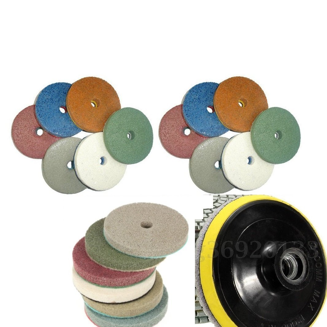 4'' 100mm Professional WET Polishing Sponge 16+1 Pad abrasive disc brings mirror like polished effect for granite marble. much better than normal grade wet pad.