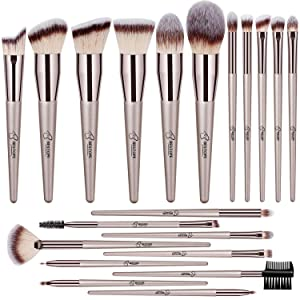 BESTOPE 20 PCs Makeup Brushes Premium Synthetic Concealers Foundation Powder Eye Shadows Makeup Brushes with Champagne Gold Conical Handle