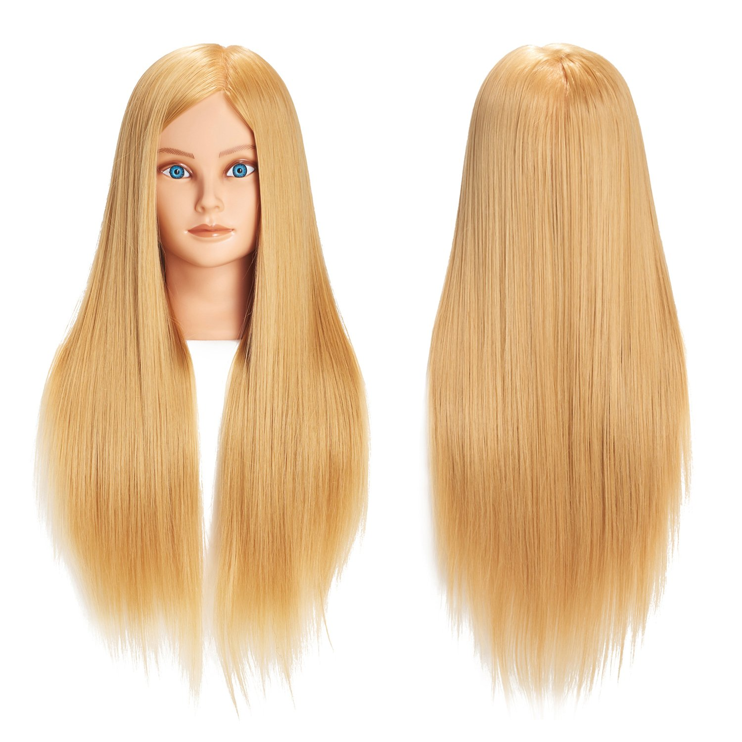 Training Head 26''-28'' Mannequin Head Hair Styling Manikin Cosmetology Doll Head Synthetic Fiber Hair Hairdressing Training Model Free Clamp (1711W2720) by training head
