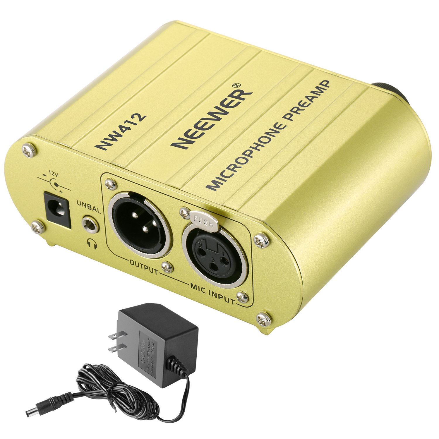 Neewer 1-Channel 48V Phantom Power Supply Pre-amplifier Compact Multi-function with Adapter for Any Condenser Microphone Music Recording Equipment£¨Gold£© 40090051@@os1