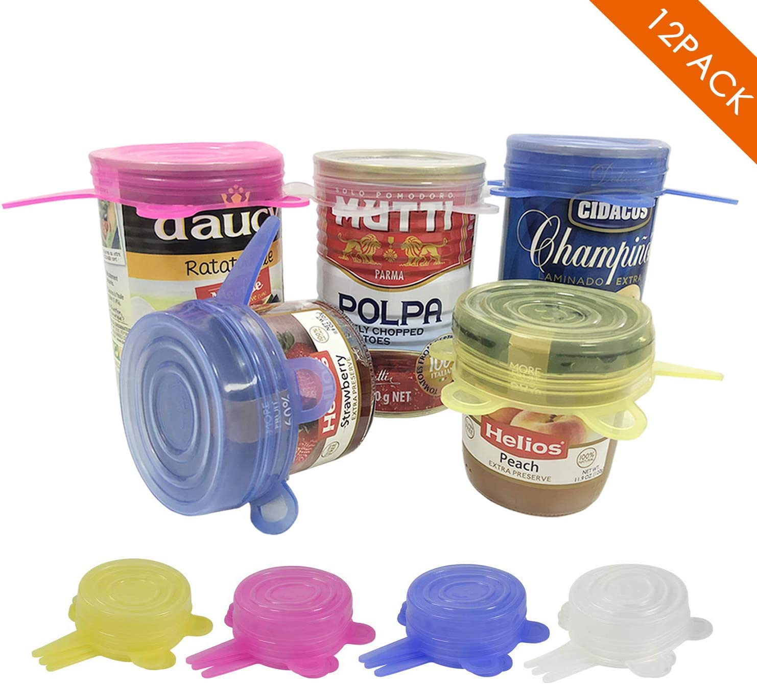 Silicone Stretch Lids, 12 Pack Small, Reusable Durable and Expandable Lids to Keep Food Fresh, the Same Sizes of 2.6 Inch
