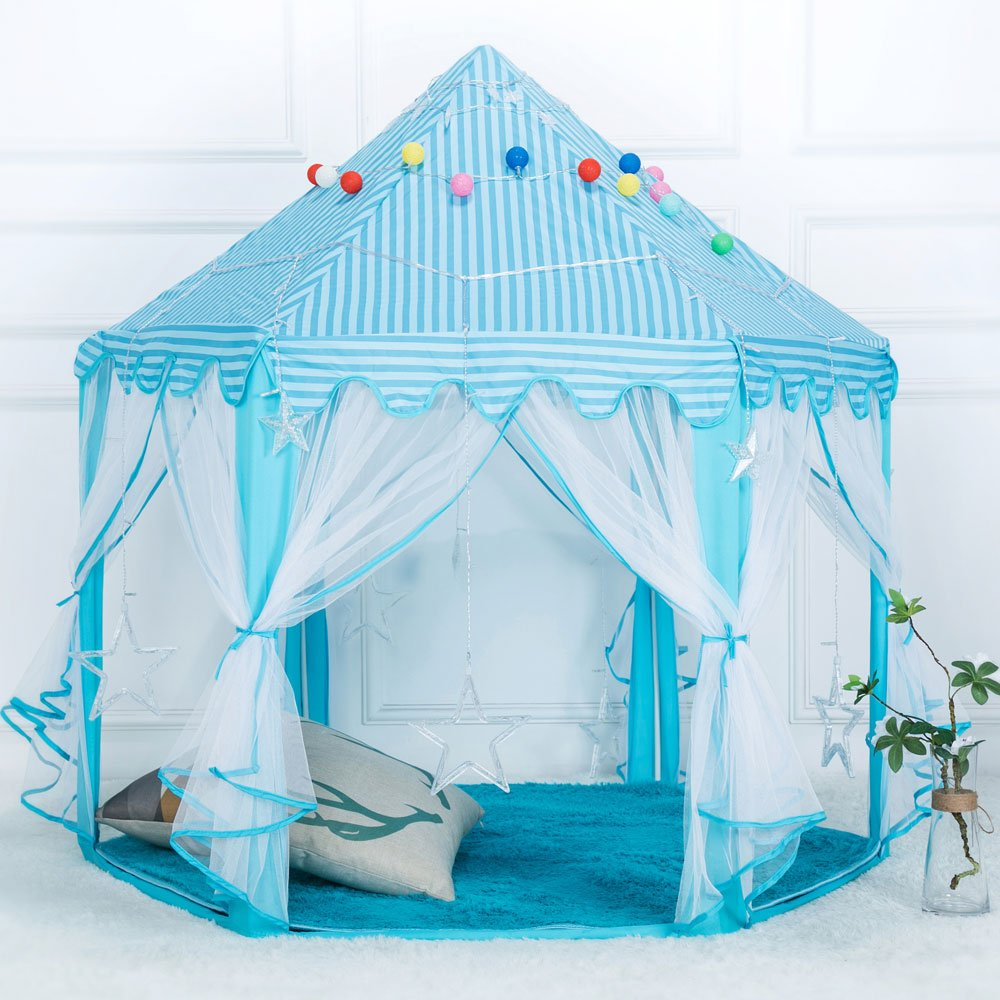 1.4m Diameter 210T Pongee Princess Castle Play House Large Outdoor Kids Play Tent for Girls Blue by Tenozek (Image #1)