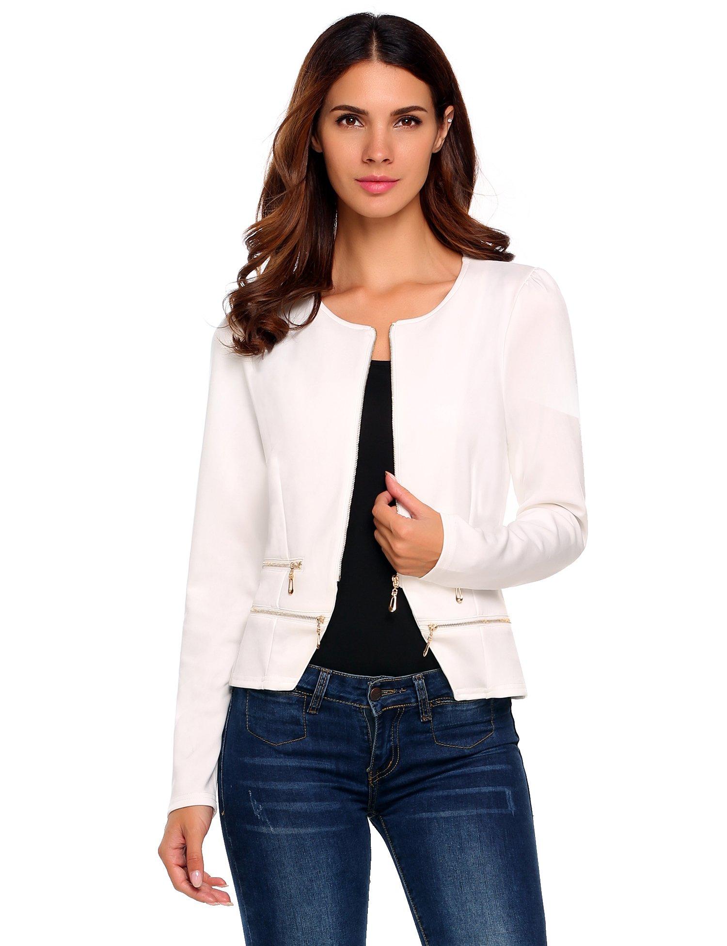 Zeagoo Women's Casual Zipper Cardigan Blazer O Neck Slim Fitted Office Jacket (L, White) by Zeagoo