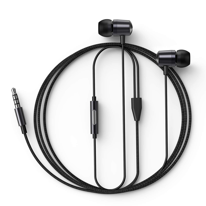 インイヤーヘッドホン 有線イヤホン ライン入力マイク付き 重低音 ダイナミックドライバーイヤホン 絡まないファブリック編組 ランニング ジム Android電話 音楽プレーヤー ダーククローム E1   B07PKVPPZJ