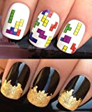 NAIL DECALS WATER TRANSFERS STICKERS ART SET #460. PLUS A LARGE GOLD LEAF SHEET FOR CUSTOM DESIGNED NAILS! 80S ELECTRONIC HANDHELD GAME TETRIS CLASSIC BLOCK BATTLE PUZZLE WRAPS & STUNNING 24KT GLIZZY GOLD LEAF FOR FULL HOLLYWOOD NAILS! ALL CAN BE USED WITH NATURAL GEL ACRYLIC STICK ON NAILS! USE ALONE OR WITH GLITTER DUST CAVIAR BEADS ALLOYS DECORATIONS CONFETTI FIMO SHAPES TAPE PENS RHINESTONES - GET CREATIVE!