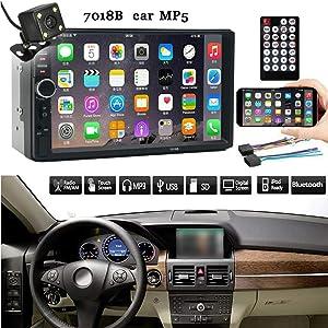 AntiGnor Car Audio Player 7 Inch Double 2 Din Screen Car MP5 Player Bluetooth Stereo FM Radio+Backup Camera DVR/Dash Camera
