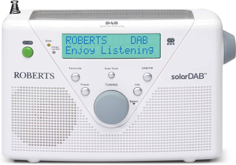 DAB+, radio VHF, port/átil, entrada auxiliar, RDS Radio solar Roberts