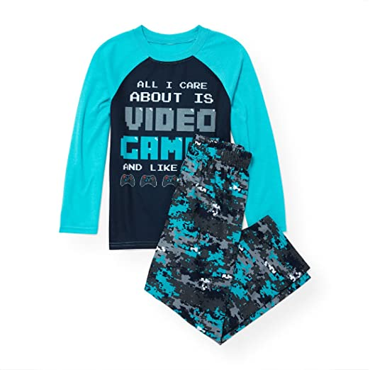 The Childrens Place Big Boys Video Game Themed 2 Piece Pajamas, Blue Atoll 90490