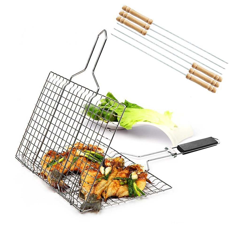iGoods [ENLARGED]Stainless Steel BBQ Barbecue Grill Basket With Removable Wood Handle,-Grilling Basket Pan for for Fish, Vegetables-Griller Grid Grate Roast for Steak, Shrimp, Chops, BBQ Tool by iGoods