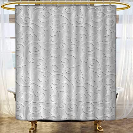 Silver Shower Curtain Abstract Curly Leaves Print for Bathroom