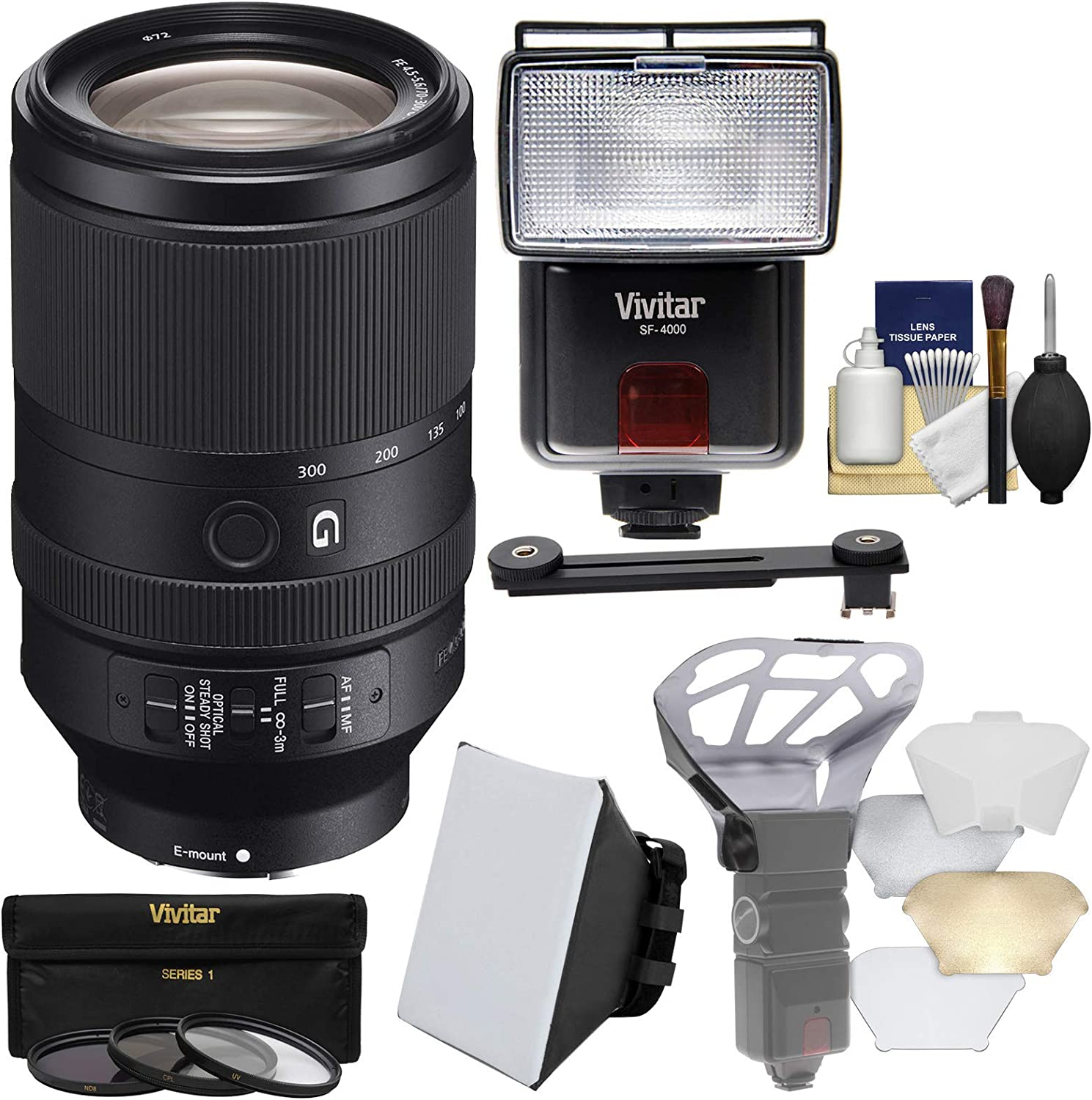 Sony Alpha E-Mount FE 70-300mm f/4.5-5.6 G OSS Zoom Lens with 3 UV/CPL/ND8 Filters + Flash + Diffusers + Soft Box + Kit