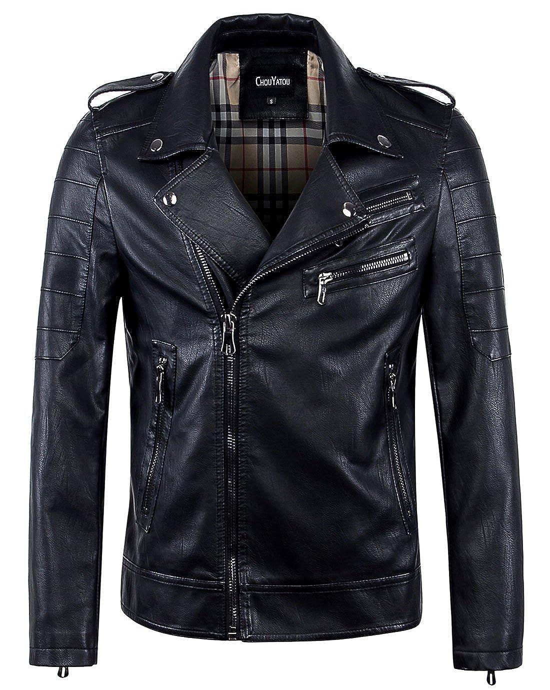 33b0ef25e chouyatou Men's Vintage Asymmetric Zip Lightweight Faux Leather Biker Jacket