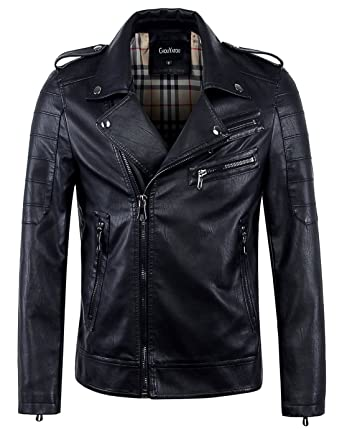 ea0dc744e8b8 chouyatou Men's Vintage Asymmetric Zip Lightweight Faux Leather Biker Jacket  (X-Small, Black
