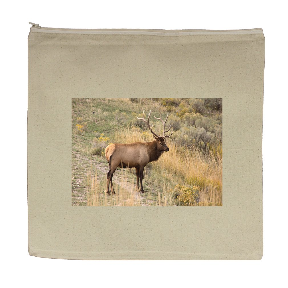 Canvas Zipper Pouch Tote Bag 5.5''X7.5'' Deer Animal Style In Print