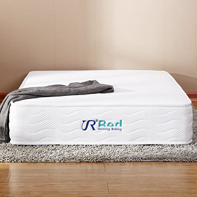 Sunrising Bedding 8 inch Natural Latex Mattress Queen Size Hybrid Independently Encased Coils Innerspring Mattress, Not Sagging and Sink, 120 Day Free Return