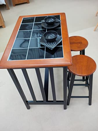 Breakfast Bar Dining Set - Kitchen Table and 2 Stools Black Tile Top And  Wood -