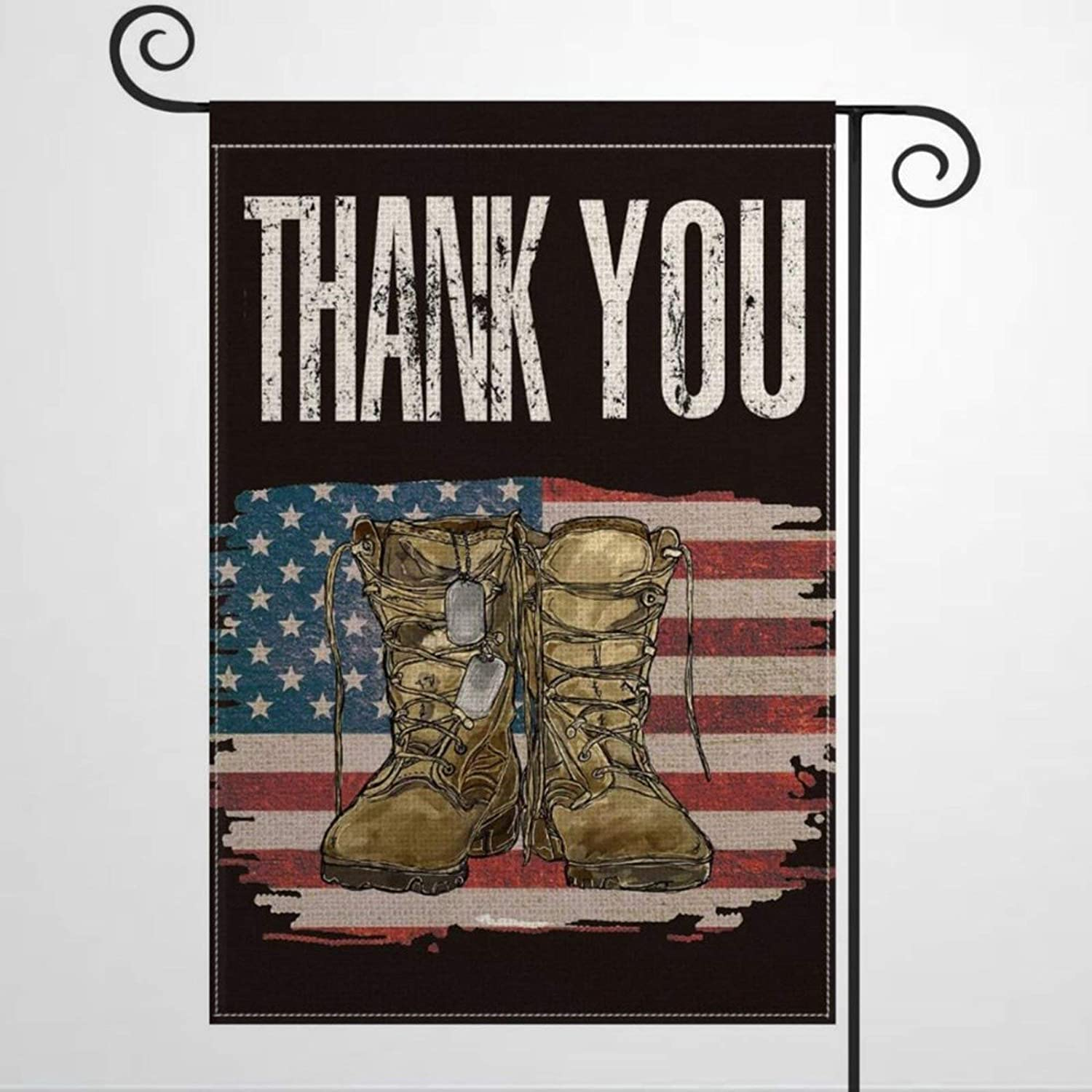 Garden Flag Veteran's Day Watercolor American Flag Army Boots Thank You Yard Decor House Decor Flag Seasonal Banners for Patio Lawn Outdoor 12x18