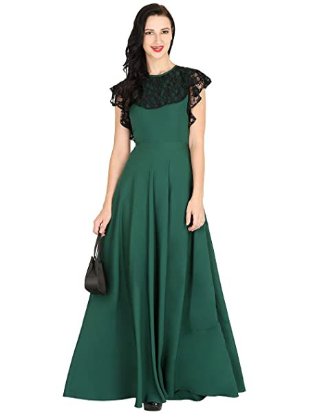 Raas Prêt Womens Dark Green Crepe With Black Floral Lace Flared Gown Dress