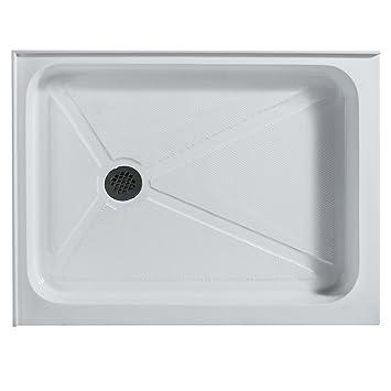 Rectangular Shower Base Left Drain, White