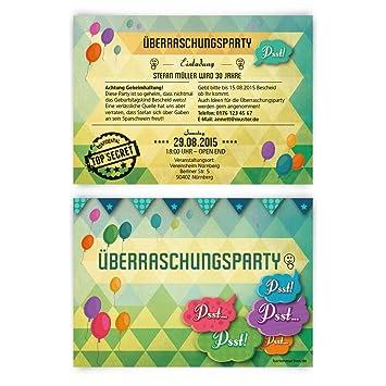 Schön Einladungskarten Zum Geburtstag (40 Stück) Überraschungsparty Einladung  Party Überraschung