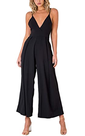 ade4bdc562b Angashion Women s Jumpsuits-V Neck Adjustable Spaghetti Strap Tie Knot Back Wide  Leg Romper Outfit