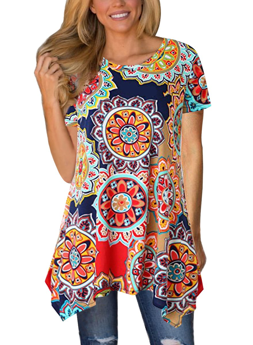 MIROL Womens Summer Short Sleeve Floral Print Irregular Hem Asymmetrical Loose Fit Tunic Tops, Colorful, Large