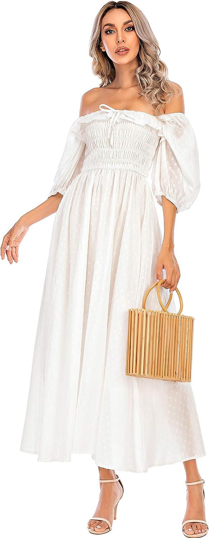 R.Vivimos Women's Polka Dot Slim Fit Half Sleeve Dresses Square Collar Long Midi Dress