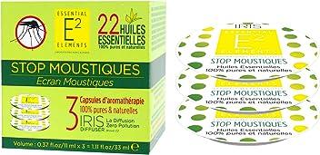 E2 Stop Moustiques Box Trio de Capsules aux 22 Huiles Essentielles naturelles ANTI-MOUSTIQUES - Diffuseur IRIS