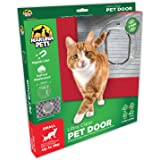 """Hakuna Small Ultra Clear Pet Door Cat Flap with 4 Way Locks, 7.5"""" x 7.5"""" Flap Size, Best Fit for Screens, Sliding Glass Door, Glass Window, Weather-Resistant & Low Maintenance"""