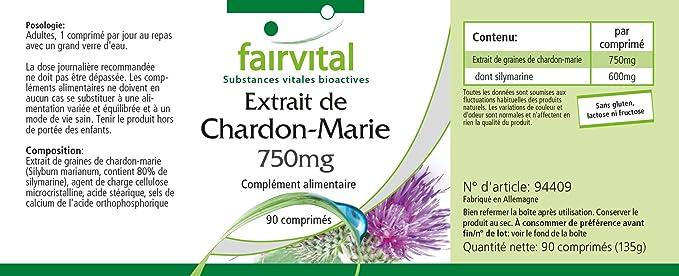 Cardo Mariano comprimidos 750mg - VEGANO - Altamente dosificado - 90 comprimidos - estandarizado a 80% de silimarina - ¡Calidad Alemana garantizada!