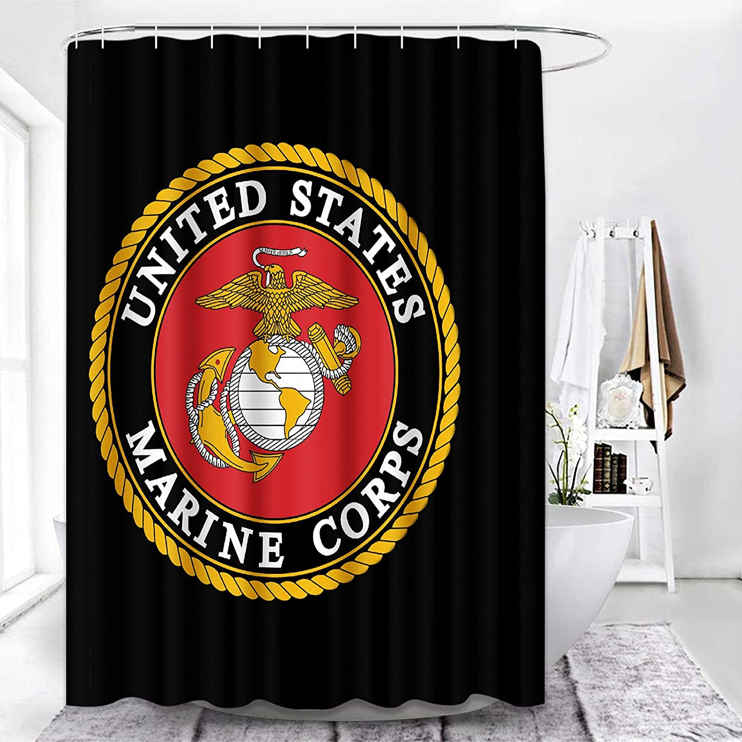 ArtSocket Shower Curtain American Independence Day Freedom July 1st United States Marine Corps Waterproof Polyester Fabric Bathroom Decor Bath 72 x 72 Inches Set with Hooks