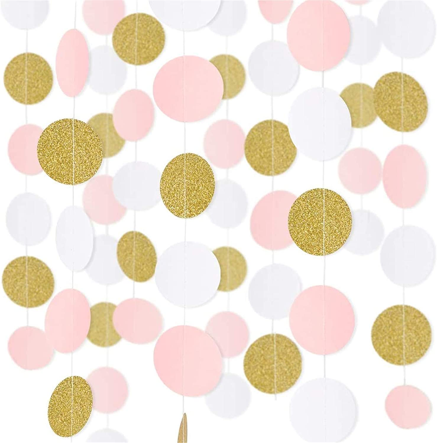 RUBFAC 5pcs 65ft Paper Garland Pink White Glitter Gold Circle Dots Hanging Decorations Streamers for Birthday Party Wedding, Class Room Decorations