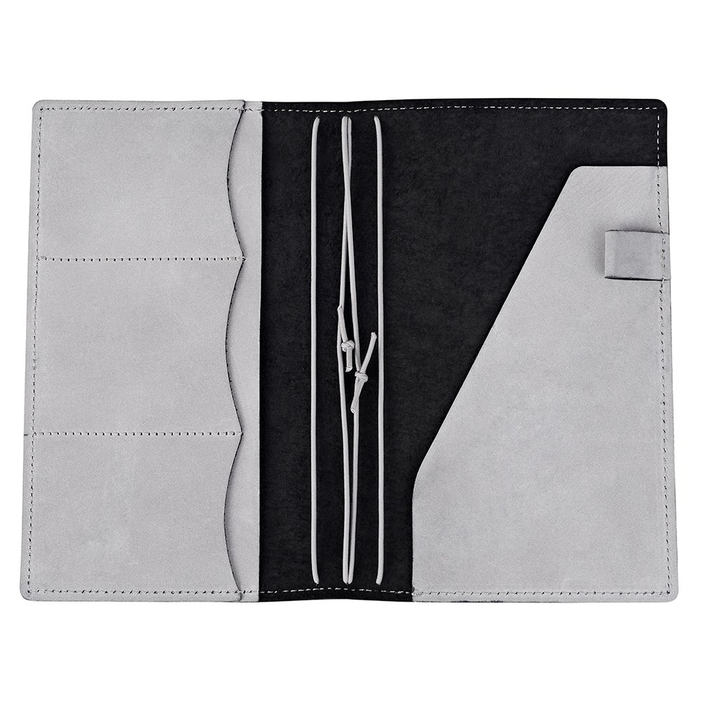 Travelers Notebook Cover with 4 Elastics, Inner Pocket + Card & Pen Holder, Waxed Black Genuine Leather, Standard Size